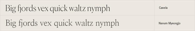 Nanum Myeongjo free font alternative to Canela