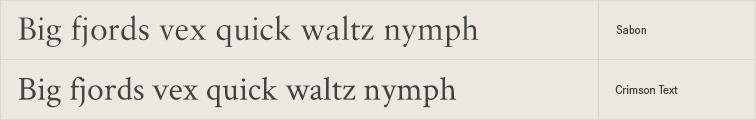 Crimson Text free font alternative to Sabon