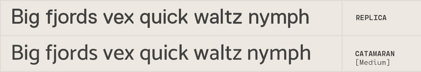 Catamaran free font alternative to Replica