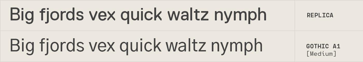 Gothic A1 free font alternative to Replica