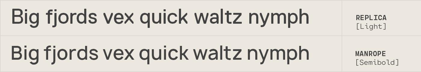 Manrope free font alternative to Replica