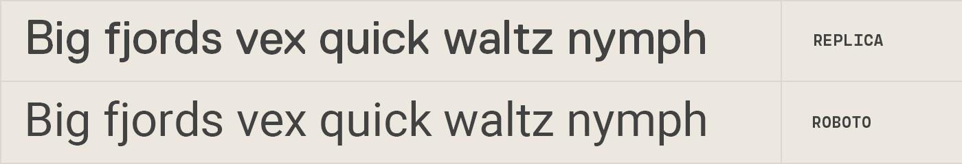 Roboto free font alternative to Replica